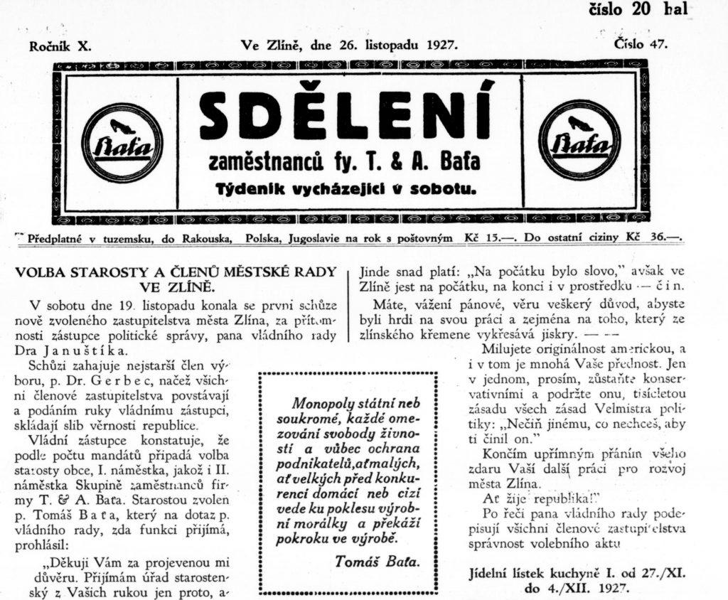 Sdělení, rok 1927