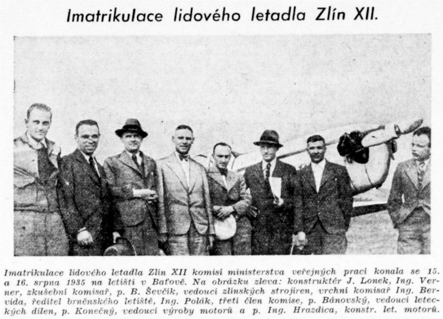 Imatrikulace letadla Zlín XII